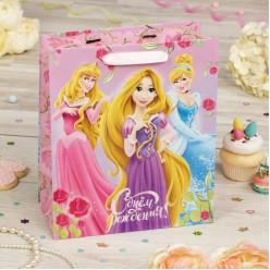 """Пакет L 31*40*11см Принцессы """"С Днём Рождения!"""" ламинат"""