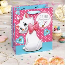 """Пакет L 31*40*11см Кошка Мари """"С Днём Рождения!"""" роз-голубой"""