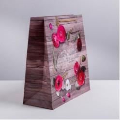 """Пакет ML 30*30*12см Цветы """"Подарок для тебя"""" ламинат"""