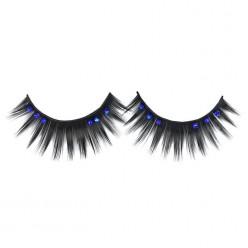 Ресницы накладные 11мм фибра чёрно-голубые со стразами