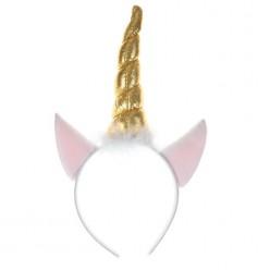 Ободок Единорог (розовые ушки, золотой рог)
