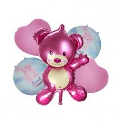 """Набор фольгированных шаров """"Рождение девочки"""" Мишка, 5 шт"""