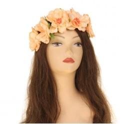 """Повязка на голову """"Цветы"""" оранжевые (текстиль)"""