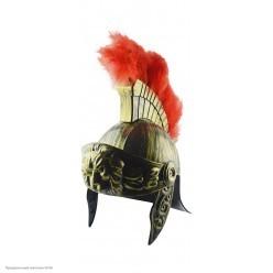 Шлем Римский воин, с перьями, под бронзу (пластик)