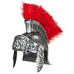 Шлем Римский воин, с перьями, под серебро (пластик)