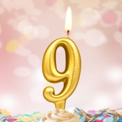 Свеча-цифра 9 Золотая 5*3см