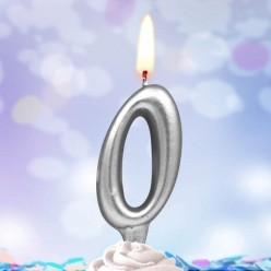 Свеча-цифра 0 Серебряная 5*3см