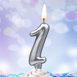 Свеча-цифра 1 Серебряная 5*3см
