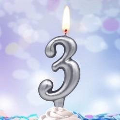 Свеча-цифра 3 Серебряная 5*3см
