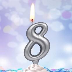 Свеча-цифра 8 Серебряная 5*3см