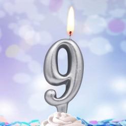 Свеча-цифра 9 Серебряная 5*3см
