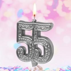 """Свеча-цифра для торта Юбилейная """"55"""" серебряная"""