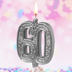 """Свеча-цифра для торта Юбилейная """"60"""" серебряная"""