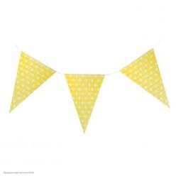 "Гирлянда-флажки ""Горошки"" 21*30см, 2,3м (бумага) жёлтая"