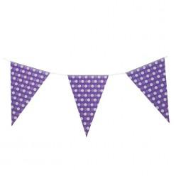"""Гирлянда-флажки """"Горошки"""" 21*30см, 2,3м (бумага) фиолетовая"""