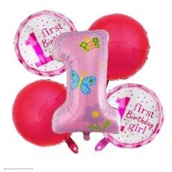 """Набор фольгированных шаров """"1-ый День Рождения"""" розовый 5 шт"""