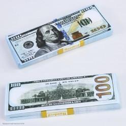 """Сувенирная Пачка денег """"100$"""" нового образца"""