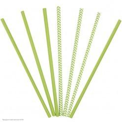 Трубочки для коктейля бумажные Зелёные 12шт