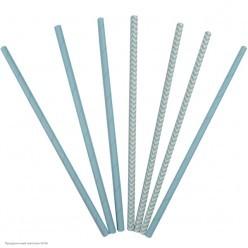 Трубочки для коктейля бумажные Светло-голубые 12шт