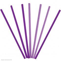 Трубочки для коктейля бумажные Фиолетовые 12шт