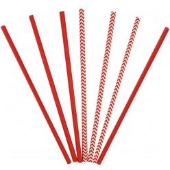 Трубочки для коктейля бумажные Красные 12 шт