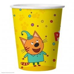 """Стаканы """"Три Кота"""" жёлтый 255мл 6шт, бумага"""
