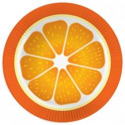 """Тарелки """"Апельсин"""" 23см 6шт, бумага"""