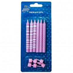 """Свечи для торта """"Розовый микс"""" 8см, 6 шт"""