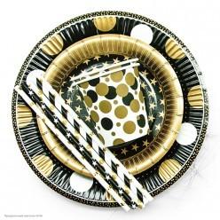 """Трубочки для коктейля бумажные """"Золотые точки"""" 12 шт"""