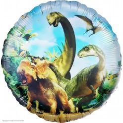 """Шар фольга Круг """"Динозавры Юрского периода"""" 18""""/45см"""