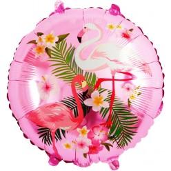 "Шар фольга Круг ""Фламинго"" розовый 18""/45см"