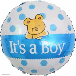 "Шар фольга Круг ""It`s a Boy"" Мишка, бело-голубой 18""/45см"