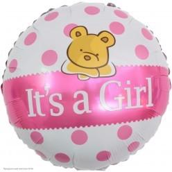 """Шар фольга Круг """"It`s a Girl"""" Мишка, бело-розовый 18""""/45см"""