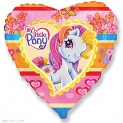 "Шар фольга Сердце ""My Little Pony"" 18""/45см"