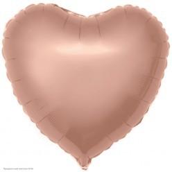 Шар фольга Сердце, Розовое Золото 18''/46см