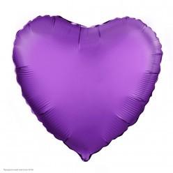 Шар фольга Сердце, Фиолетовый 19''/48см