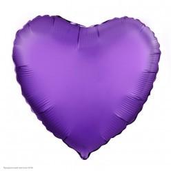 Шар фольга Сердце, Фиолетовый Сатин 19''/48см