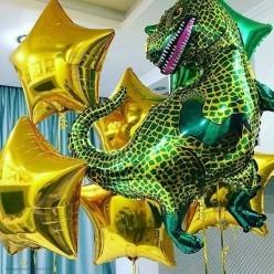 Шар фольга Тираннозавр зелёный 33''/84см