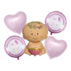 """Набор фольгированных шаров """"Рождение девочки"""" Малышка, 5шт"""