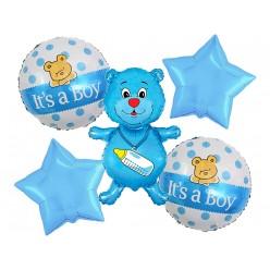 """Набор фольгированных шаров """"Рождение мальчика"""" Мишка, 5 шт"""