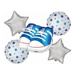 """Набор фольгированных шаров """"Рождение мальчика"""" Ботинки, 5шт"""