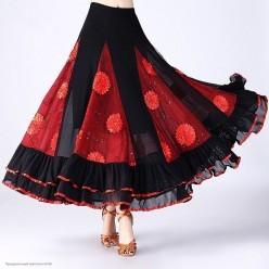 Юбка цыганская с цветами и оборкой (чёрно-красная)