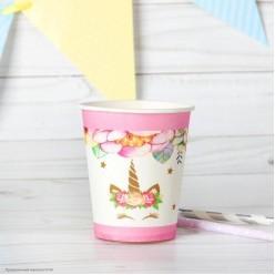 "Стаканы ""Единорог и цветы"" розовый 220мл 6 шт, бумага"
