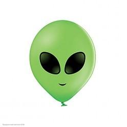 """Шар """"Инопланетянин"""" зелёный, 2ст/рисунок 14""""/35см"""