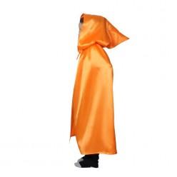 Накидка Атласная с капюшоном 85см Оранжевая
