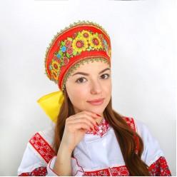 """Кокошник на лентах """"Фантазия"""" с подсолнухами, красный"""