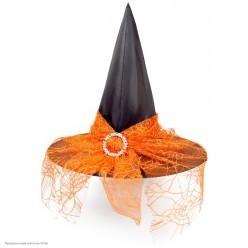 Колпак Ведьмы с паутинкой и пряжкой (нейлон) чёрно-оранжевый