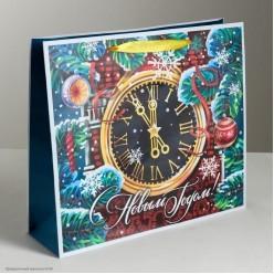 """Пакет подарочный ML 30*26*9см """"С Новым годом!"""" Куранты"""