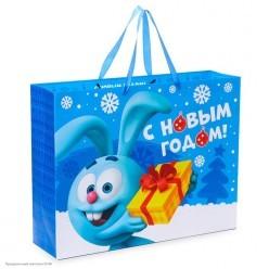 Пакет подарочный L 40*31*9см Смешарики, синий