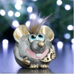 Фигурка СГ Счастливый Крыс, серебро (гипс) 13*7,5*7,5 см